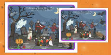 Halloween Scene Word Mat Romanian Translation