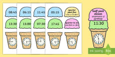 Telling the Time Ice Cream Cone Matching Activity English/Romanian