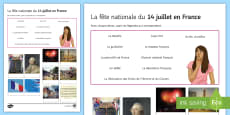 La fête nationale Photo Quiz Activity Sheet French