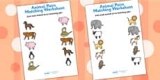 Animal Pairs Matching Activity Sheets