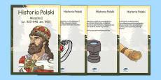Mieszko I Timeline fact cards Polish