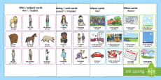* NEW * Make a Sentence Who, What Doing, Where, When? Cards English/German