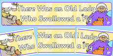 There Was an Old Lady Who Swallowed a Fly Display Banner