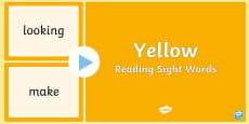 New Zealand Yellow Reading Sight Words PowerPoint