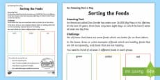Sorting the Foods Activity Sheet