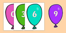 Counting in 3s on Balloons