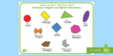 * NEW * 2D Shape Irregular and Different Orientations Word Mat Arabic/English