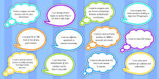 Year 3 Maths Assessment Targets on Speech Bubbles