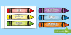 Colour Words on Crayons English/Romanian