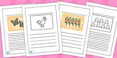 African Hen Story Black and White Lined Writing Frames