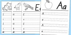 Te Reo Māori Alphabet Writing Template