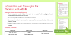 ADHD Strategies and Information Adult Guidance