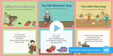EYFS The Elves and the Shoemaker Songs and Rhymes PowerPoints Pack