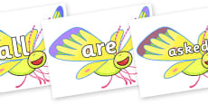 Tricky Words on Yellow Butterfly to Support Teaching on The Crunching Munching Caterpillar
