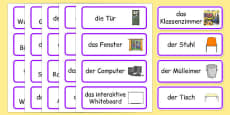 Classroom Word Cards German