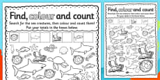 Under the Sea Find Colour and Count Activity Sheet