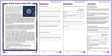 British Science Week 2017 Differentiated Reading Comprehension Activity