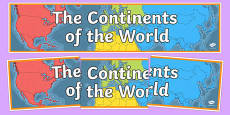 Continents Of The World Display Banner