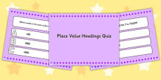 Place Value Headings PowerPoint