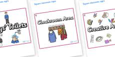 Cherry Tree Themed Editable Square Classroom Area Signs (Plain)