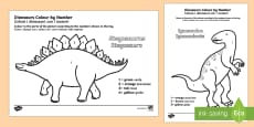 * NEW * Dinosaurs Colour by Number English/Italian
