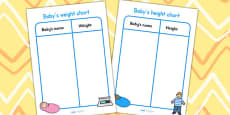 Baby Clinic Role Play Weight and Height Charts
