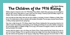 Children of the 1916 Rising Comprehension Activity Sheet