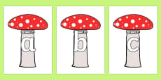 A-Z Alphabet on Toadstools