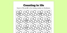 Counting in 10s Flowers Activity Sheets