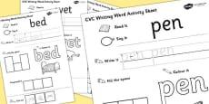CVC Writing Word Activity Sheet Pack 'e' with British Sign Language
