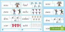 Winter: Bilder und Zahlwörter 1 bis 10 Memory Karten