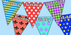 Pretty Pattern Themed Days of the Week Bunting