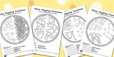 Pizza Fractions Activity Sheets: Halves, Quarters and Thirds Romanian Translation
