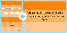 Using a Full Stop Question Mark or Exclamation Mark to Punctuate a Sentence SPaG PowerPoint Quiz