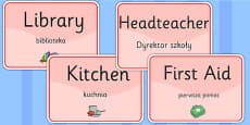 School Room Display Signs EAL Polish Version
