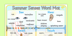 Summer Senses Word Mat