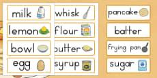 Australia - Pancake Day Recipe Word Cards