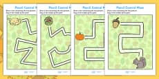 Autumn Themed Pencil Control Maze Activity Sheets