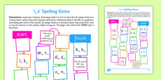 i-e Spelling Board Game
