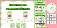 Irregular Plurals Spinner Bingo