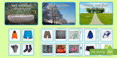 * NEW * Photo Weather Clothes Sorting Activity English/Romanian