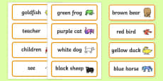 Word Cards to Support Teaching on Brown Bear, Brown Bear