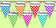 Days of the Week Display Bunting