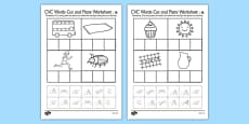 CVC Words Cut and Paste Activity Sheets u with British Sign Language