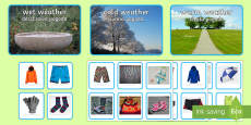Photo Weather Clothes Sorting Activity English/Polish