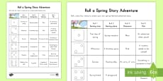 Spring K 2  Roll a Spring Adventure Story Activity Sheet
