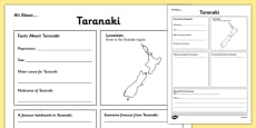 All About Taranaki Writing Frame