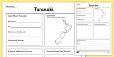 All About Taranaki Writing Frame
