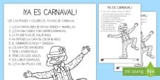 Lee y colorea: El payaso Carnaval