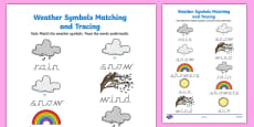 Weather Symbols Matching and Tracing Activity Sheet